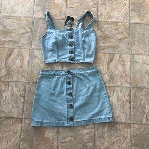 Two piece Denim Crop Top & Skirt 🔥🔥